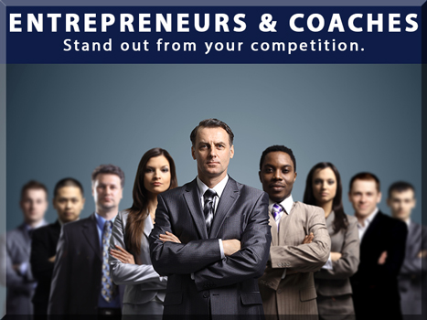 Entrepreneurs & Coaches Stand out from your competition. Business people standing in a line tapering back from the middle