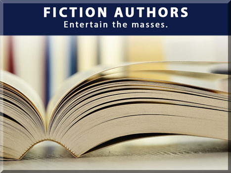 FICTION AUTHORS Entertain the masses. Open book looking at the edge of the pages.