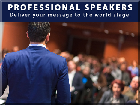 PROFESSIONAL SPEAKERS Deliver your message to the world stage. Looking at the back of a man speaking to a room full of people